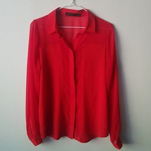 The Limited Sheer Red Blouse